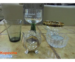 Set dve čašice,činijica,svećnjak, čašica u metalnom kućištu