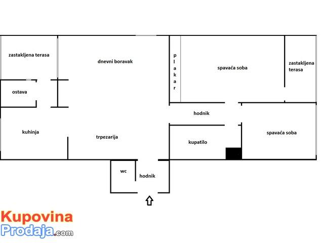 Trosoban stan, 80 kv. Ruma