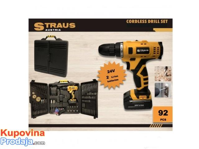 Aku busilica Straus Austria 24V + 92 dodatka + 2 Baterije