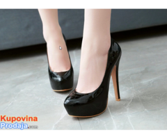13,5cm Crne Kožne Lakirane Platforme + Poklon